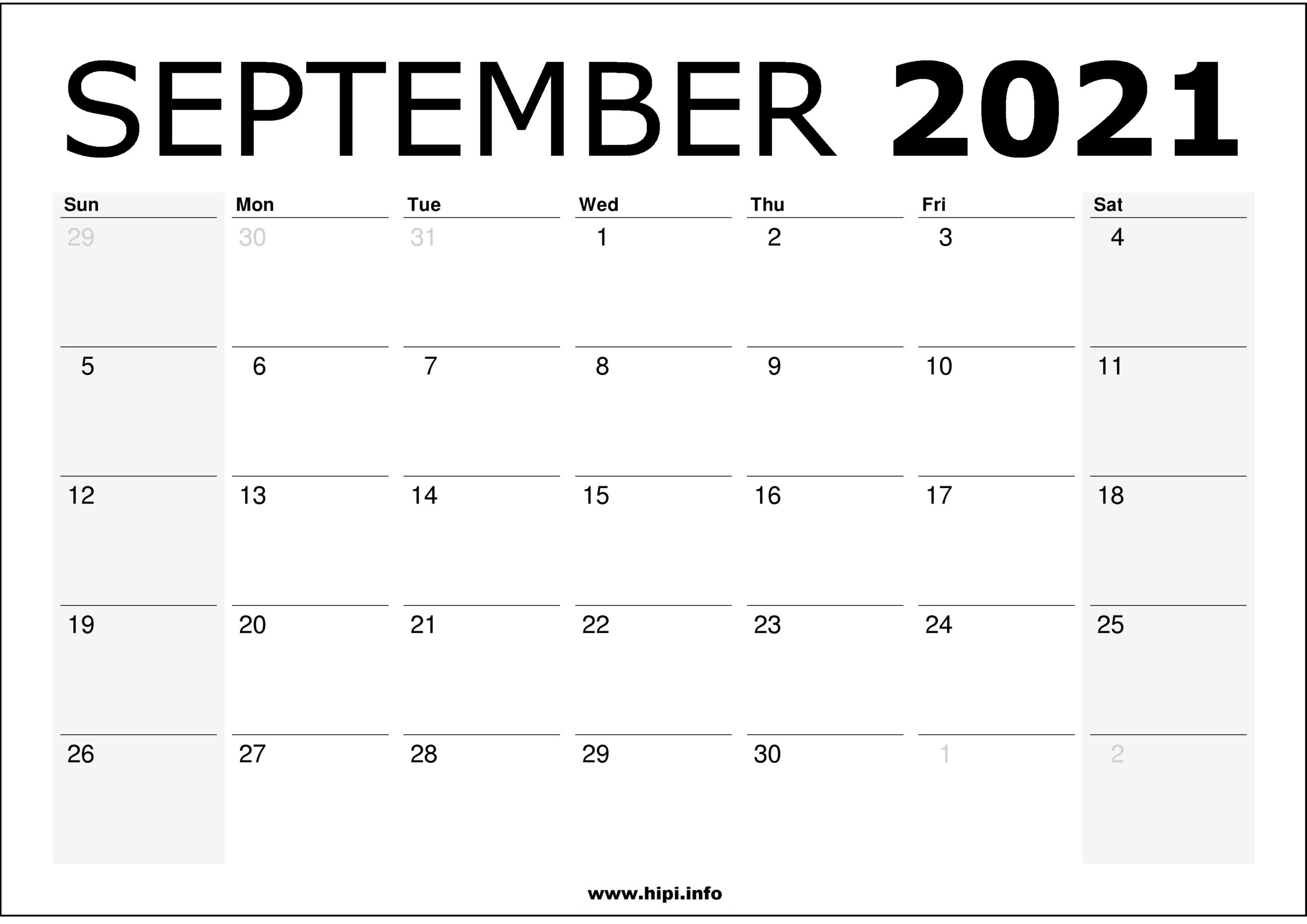 September 2021 Calendar Printable – Monthly Calendar Free