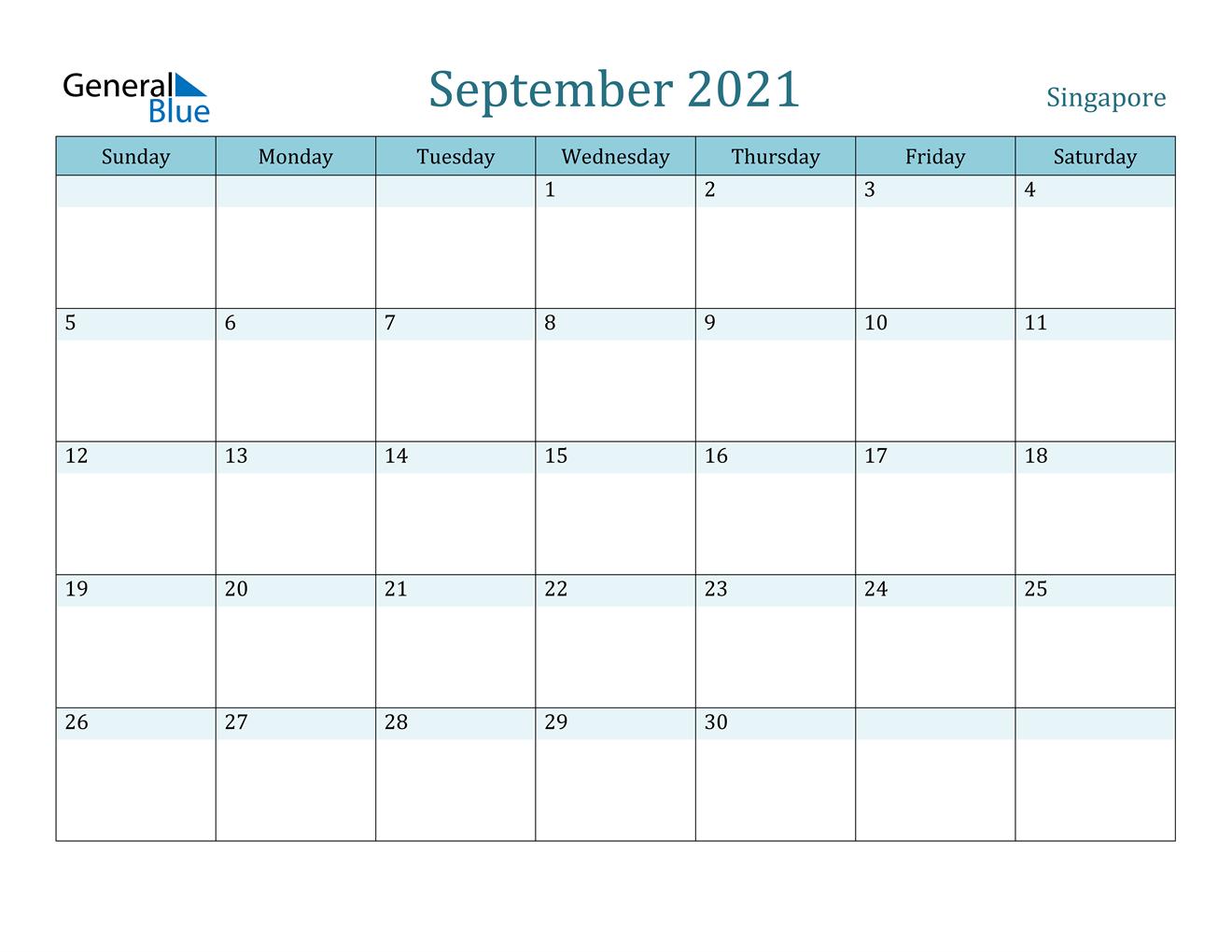 September 2021 Calendar - Singapore