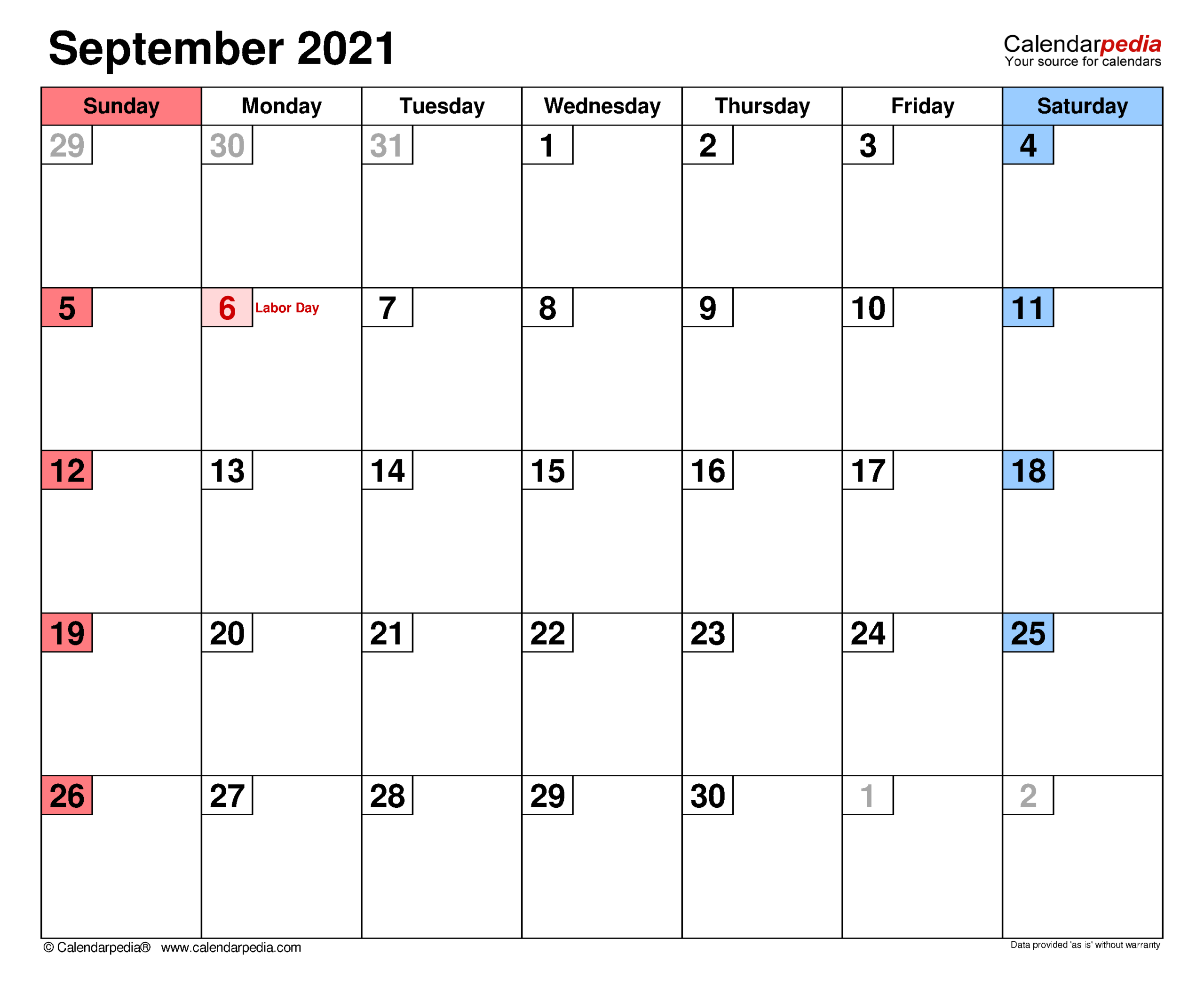 September 2021 - Calendar Templates For Word, Excel And Pdf