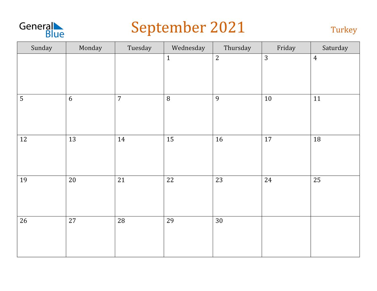 September 2021 Calendar - Turkey