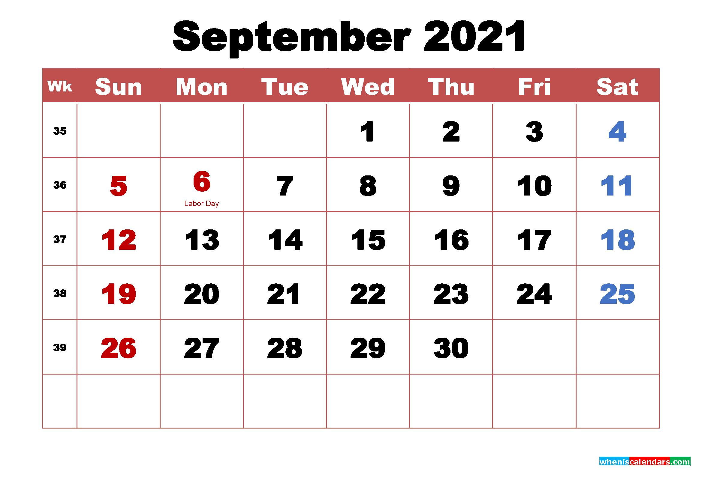 September 2021 Calendar With Holidays Printable | Free