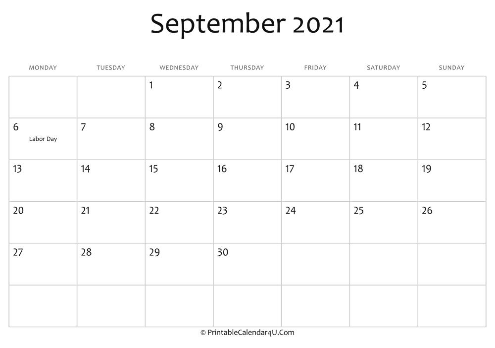 September 2021 Editable Calendar With Holidays