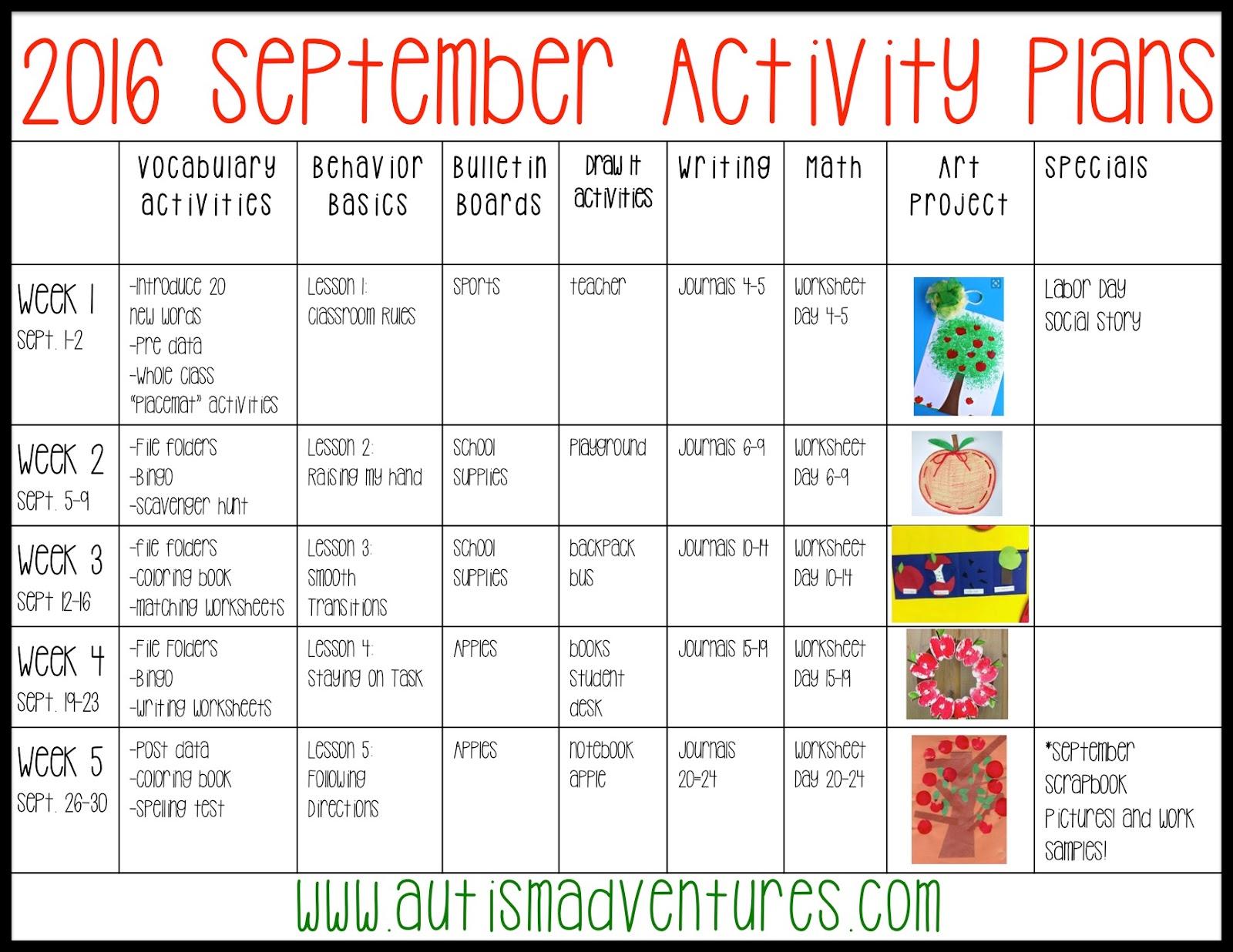 September Activity Plans » Autism Adventures