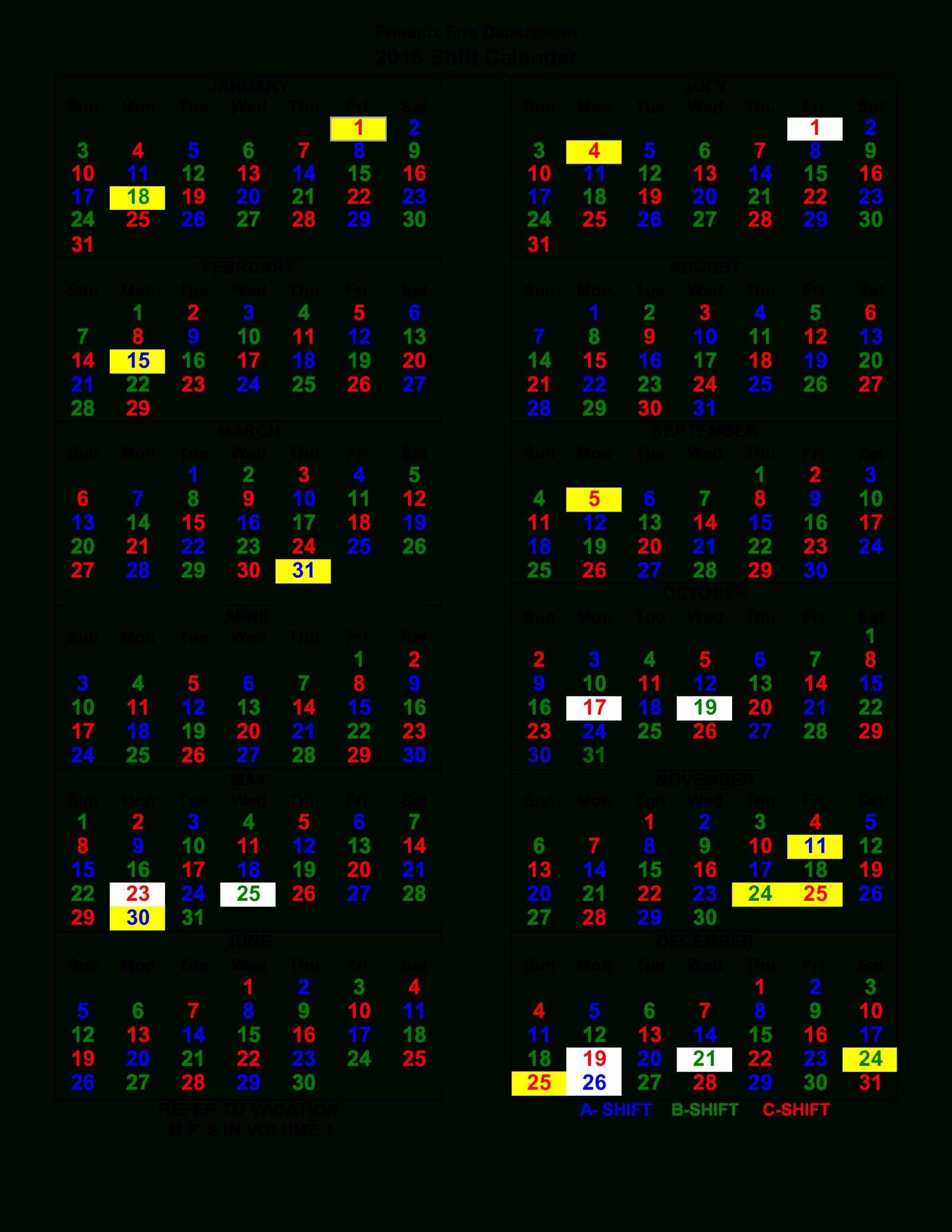 Shift Work Calendar Sample | Templates At