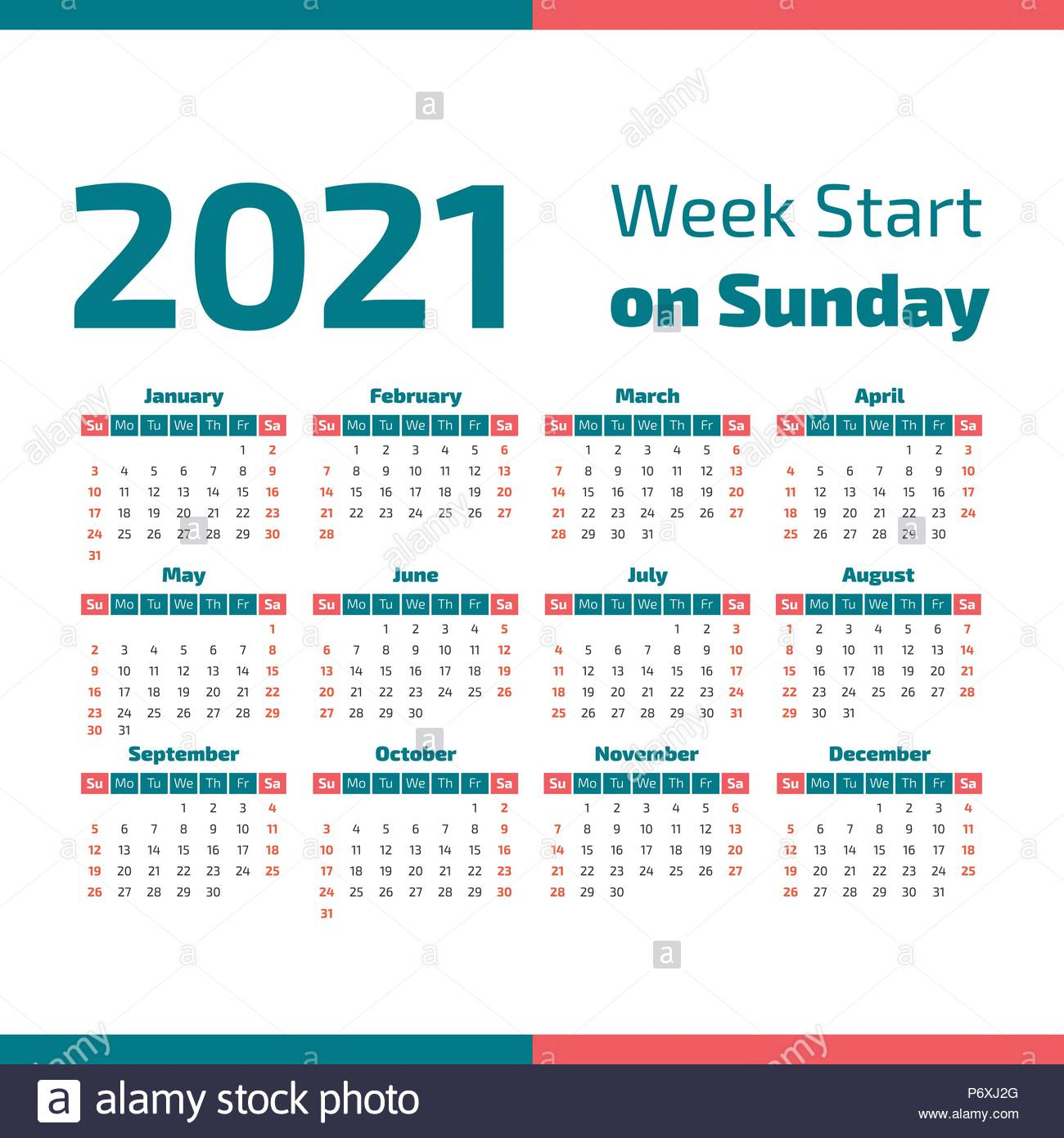 Simple 2021 Year Calendar, Week Starts On Sunday Stock