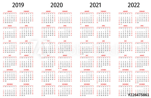 Simple Calendar 2019, 2020, 2021, 2022. Simple Editable