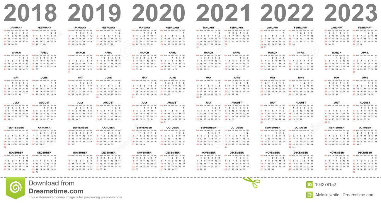 Simple Calendars For Years 2018 2019 2020 2021 2022 2023