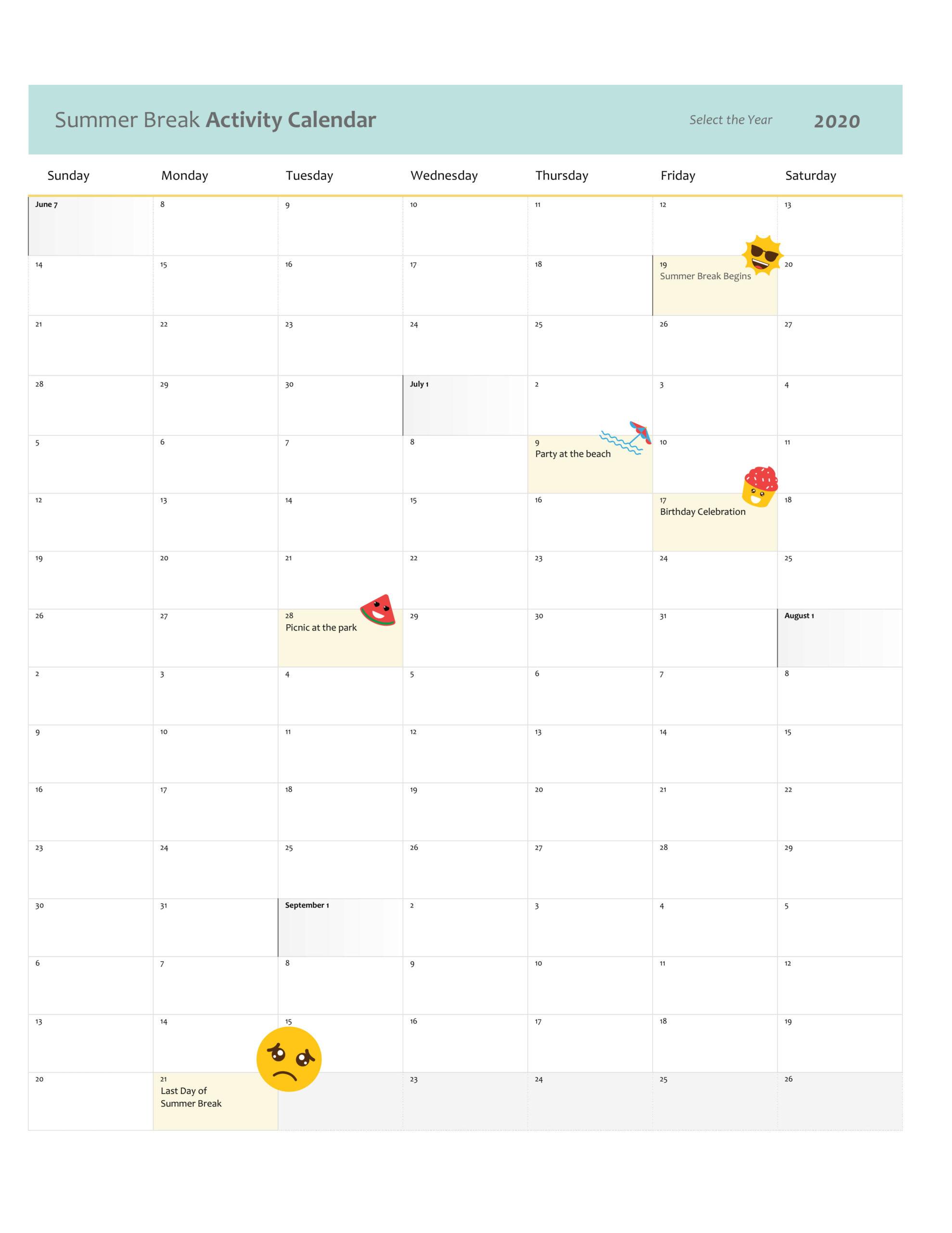 Summer Break Activity Calendar - Printable Calendar