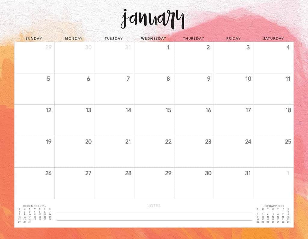Take 2020 Printable Calendar – Sunday Thru Saturday
