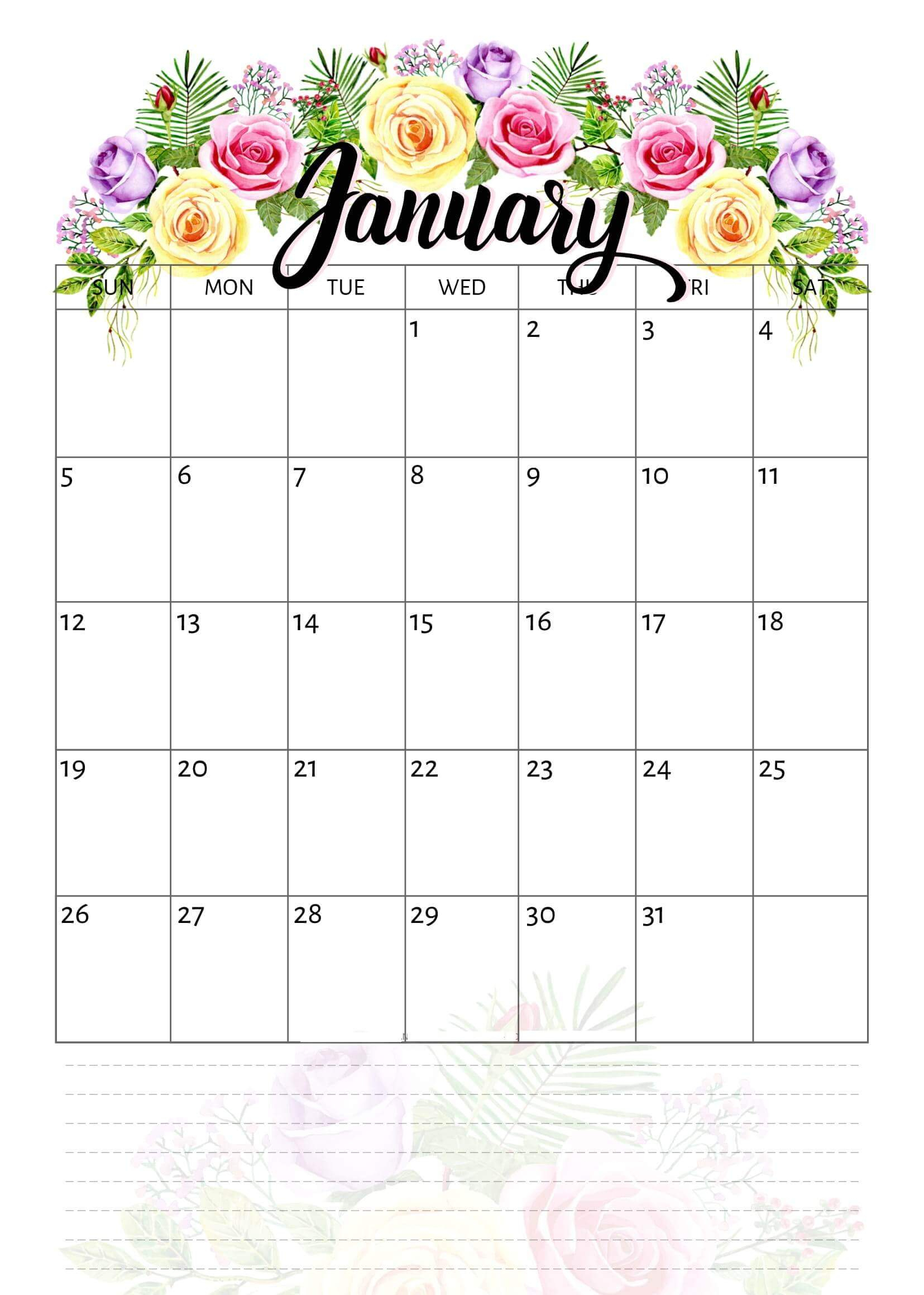 Take Pretty January 2020 Calendar | Calendar Printables