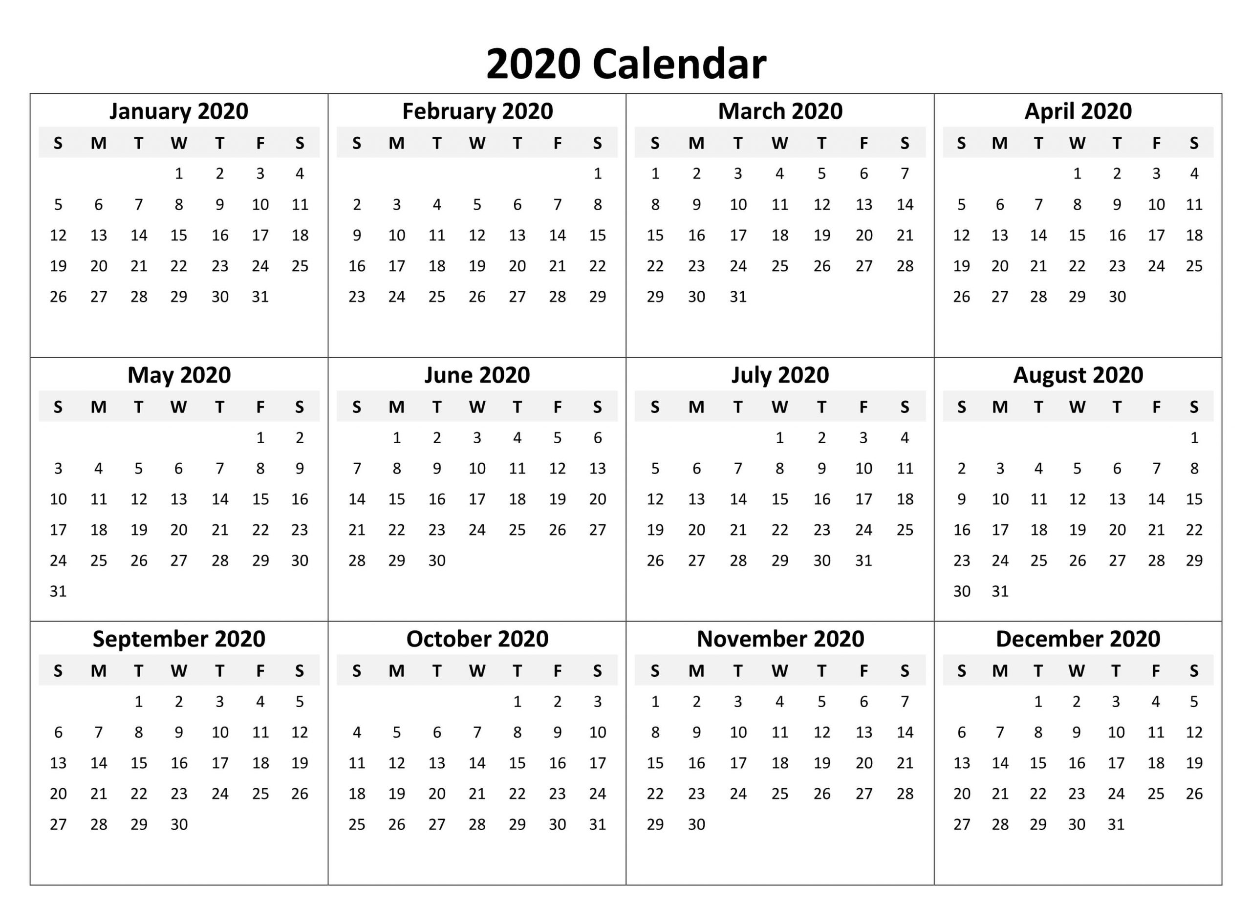 Take Printable 2020 Yearly Calendar With Boxes | Calendar