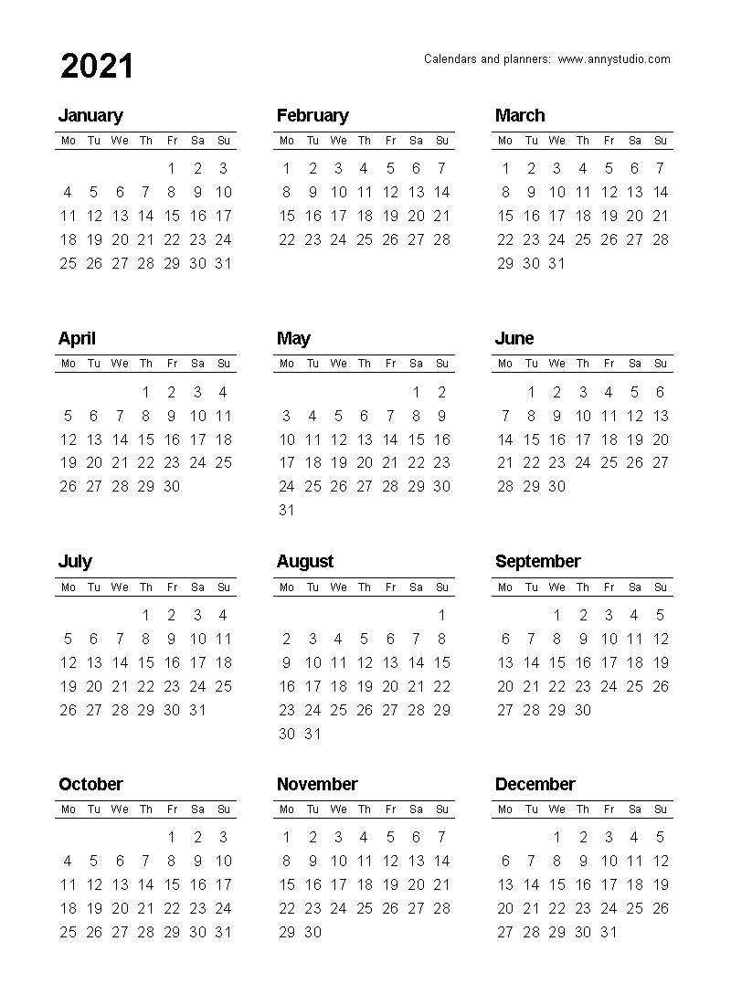 Take Yearly Calendar Printable 2020 Start On Monday