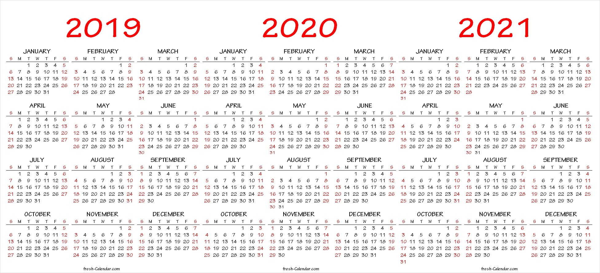 Three Year Printable Calendar 2021 To 2023 | Calendar ...