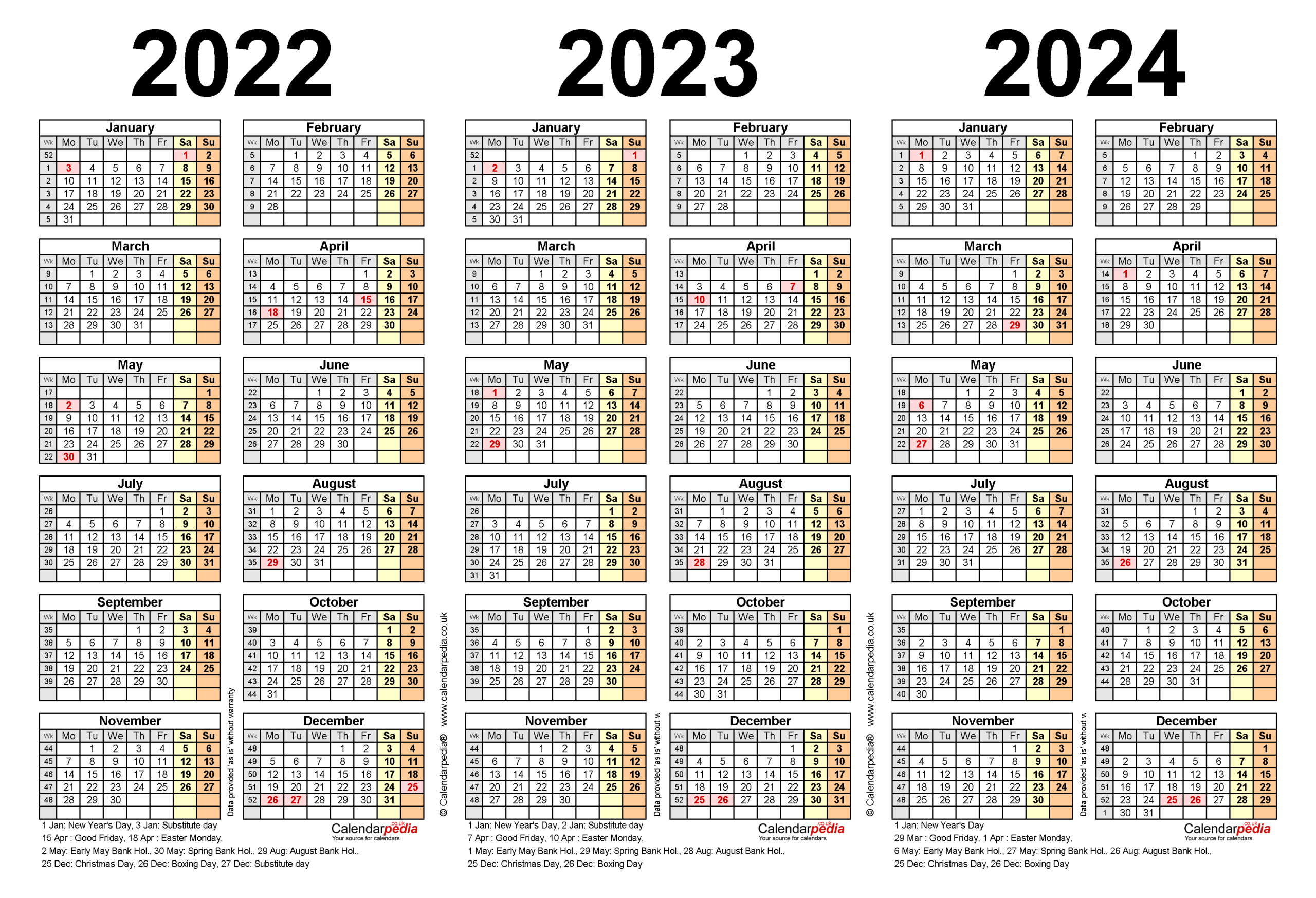 Three Year Calendars For 2022, 2023 & 2024 (Uk) For Excel