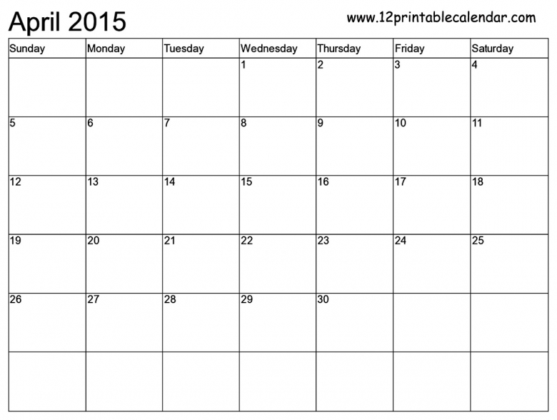 To Fill In Blank Monthly Calendar Template 2015 :-Free