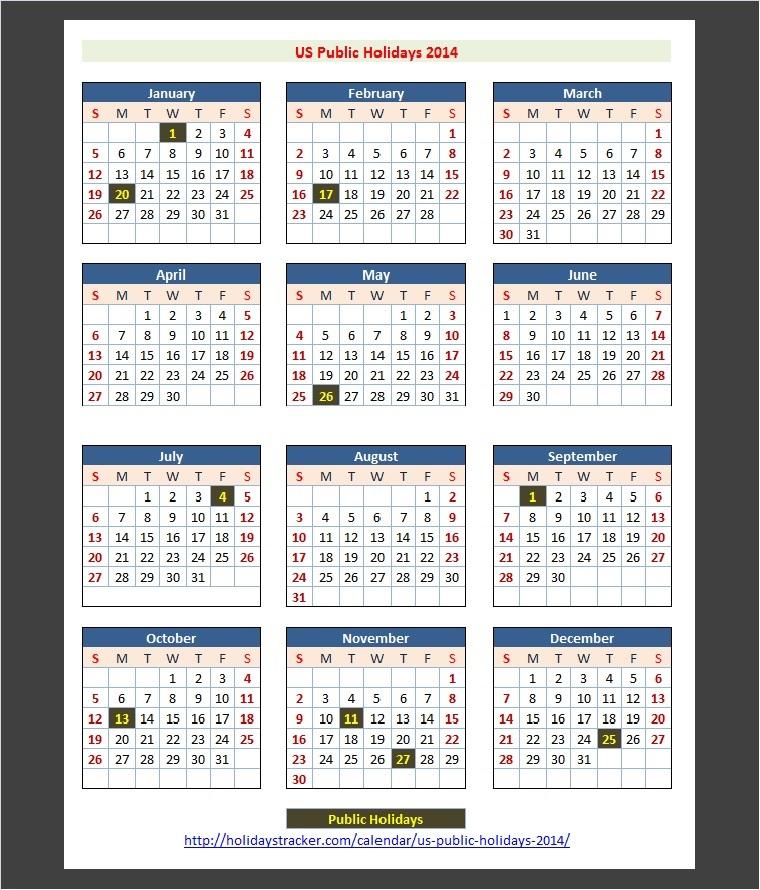 Us Public Holidays 2014 – Holidays Tracker