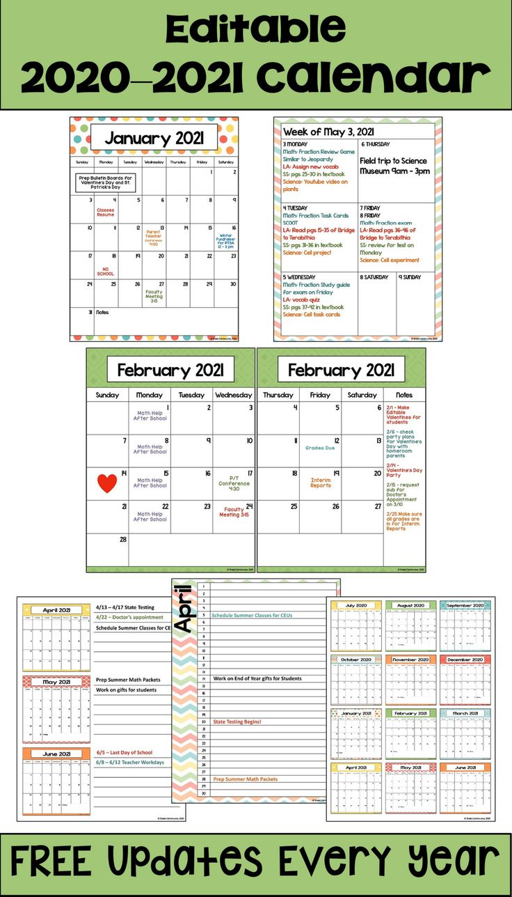 Watch: 2020-2021 Calendar Printable And Editable With Free