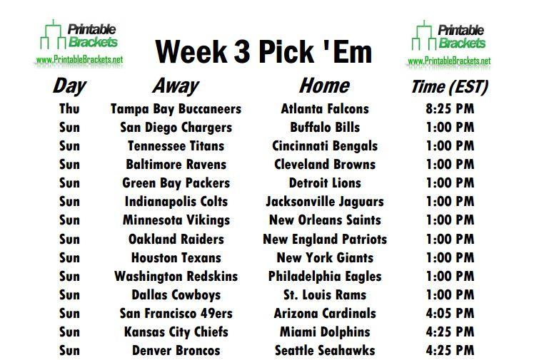 Week 3 Schedule Opens With Buccaneers Battling Falcons On