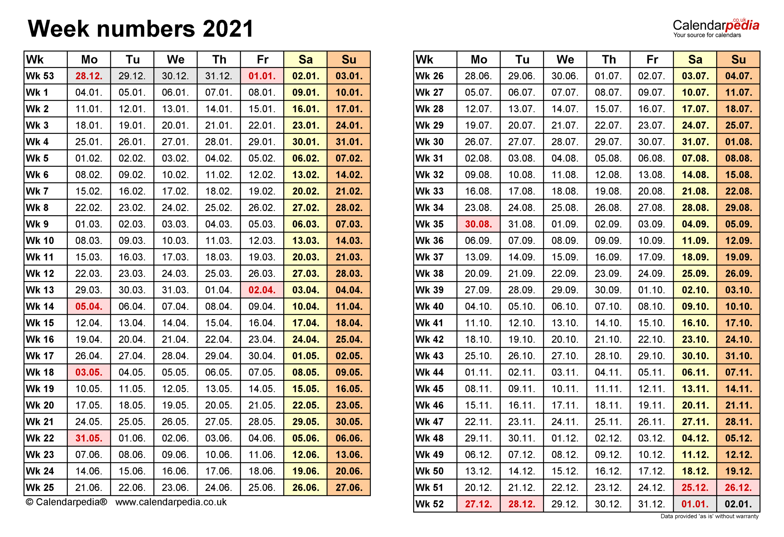 Week Numbers 2021 With Excel, Word And Pdf Templates