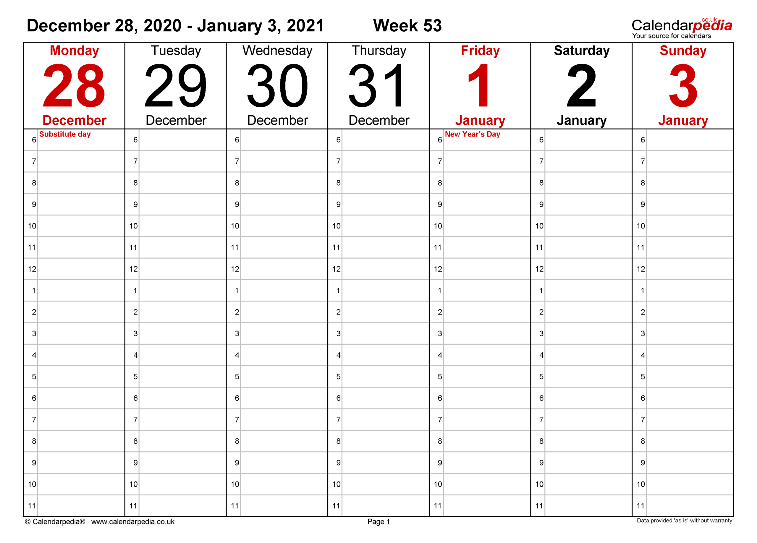 Weekly Calendar 2021 Uk - Free Printable Templates For Word