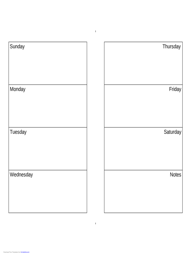 Weekly Calendar (Sunday-Saturday) - Edit, Fill, Sign