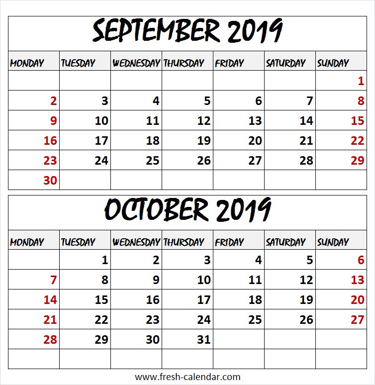 White Calendar 2019 September And October | Calendar