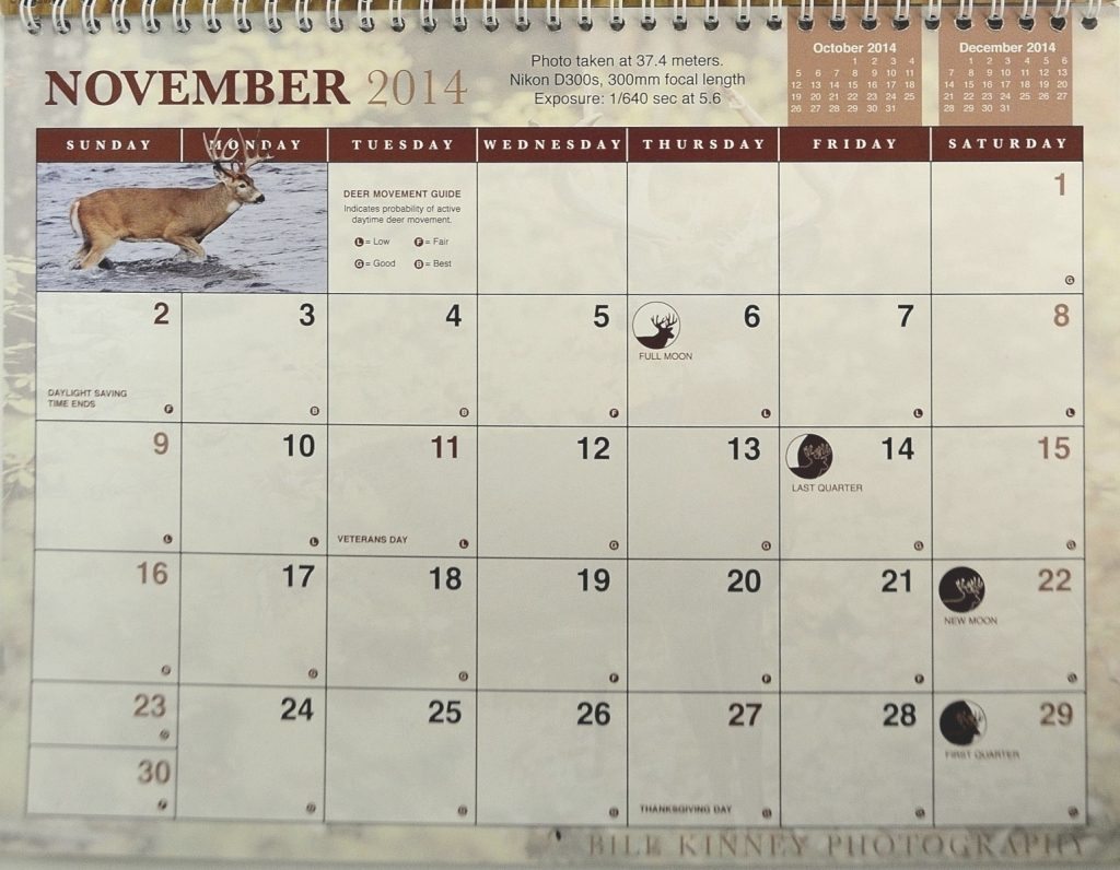 Whitetail Rut Calendar   Calendar Image 2020