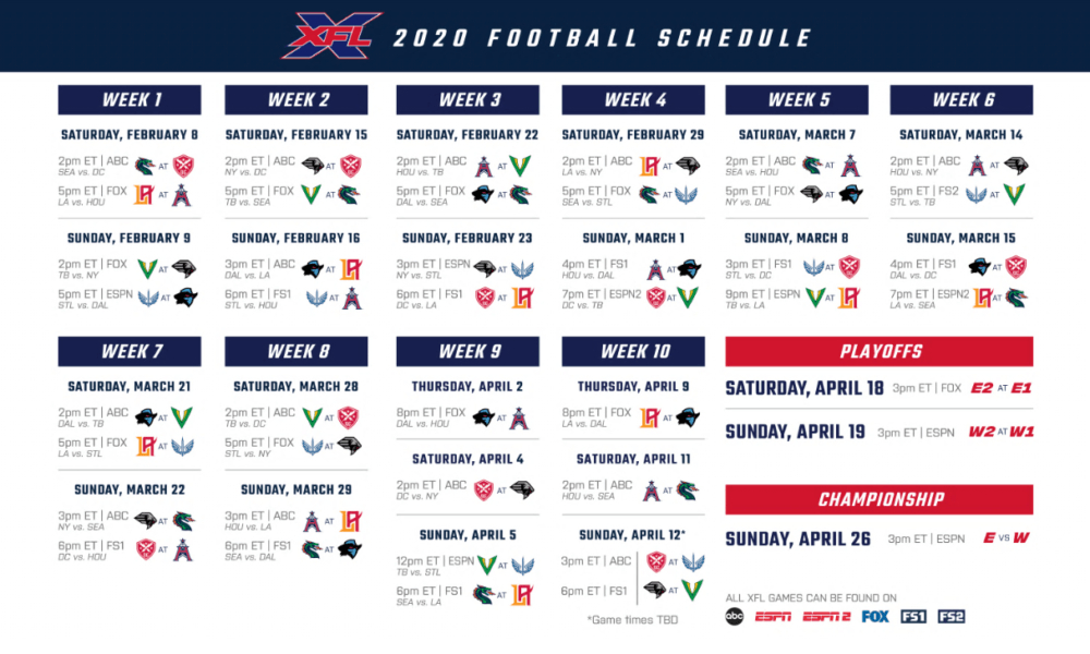 Xfl Season Schedule Released:find Out Who Plays Who In The