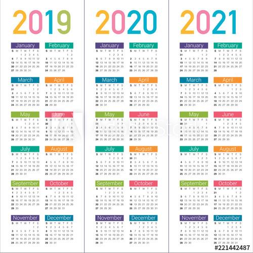 Year 2019 2020 2021 Calendar Vector Design Template - Buy