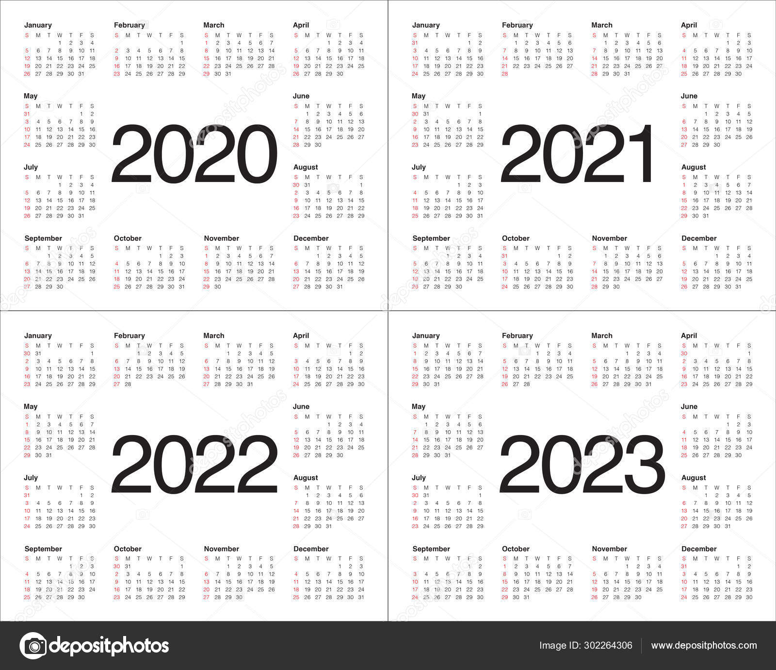 Three Year Calendar 2021-2023