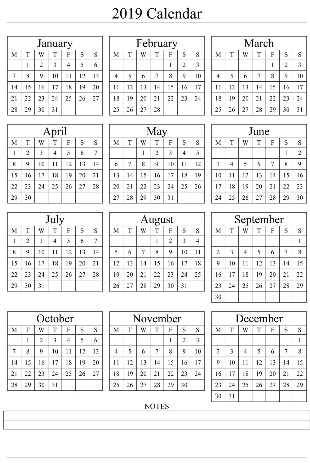 Year Calendar In One Page | Ten Free Printable Calendar