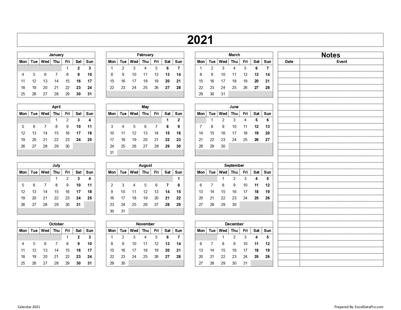 Year Calendar With Notes | Calendar Printables Free Templates