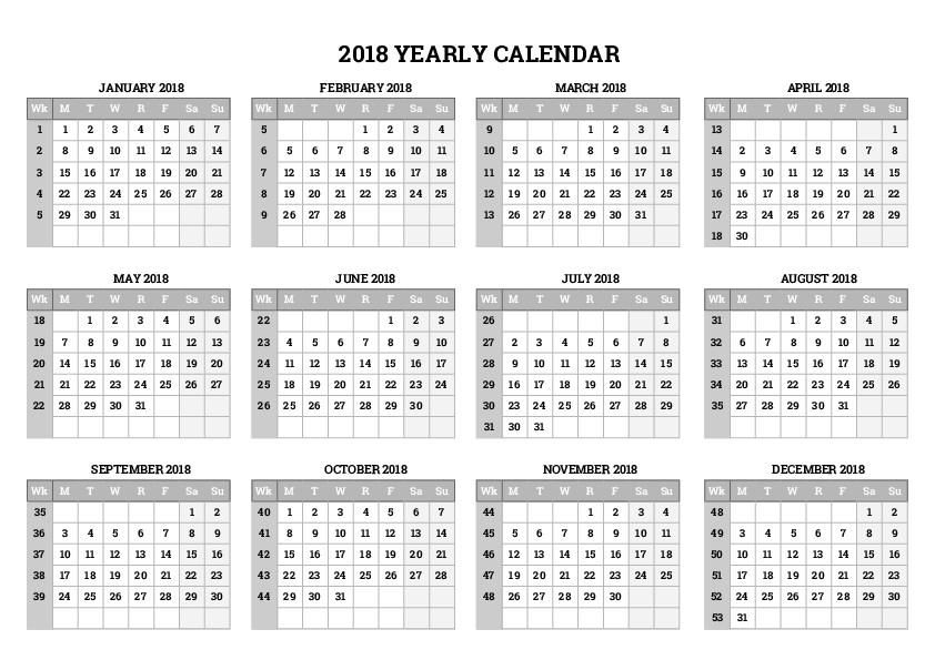 Yearly Calendars - Free Printable Calendars
