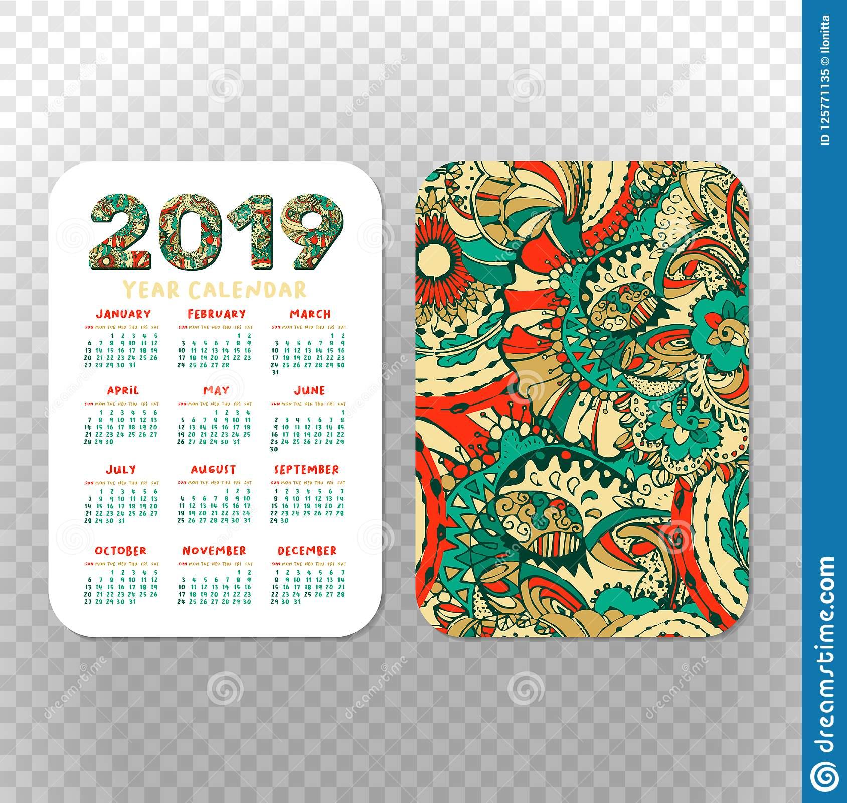 2019 Calendar Template For Pocket Calendar, Basic Grid