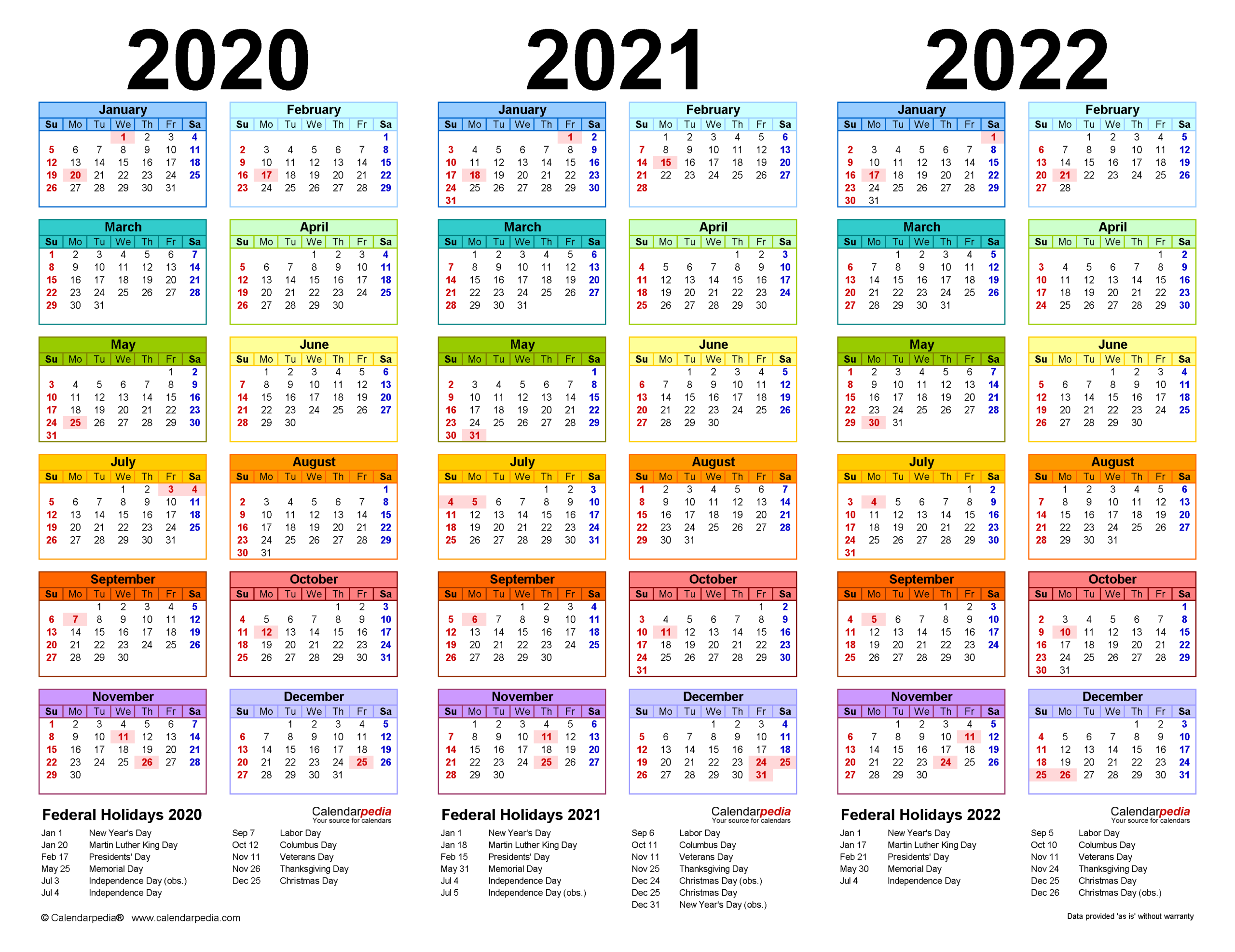 2020-2022 Three Year Calendar - Free Printable Excel Templates