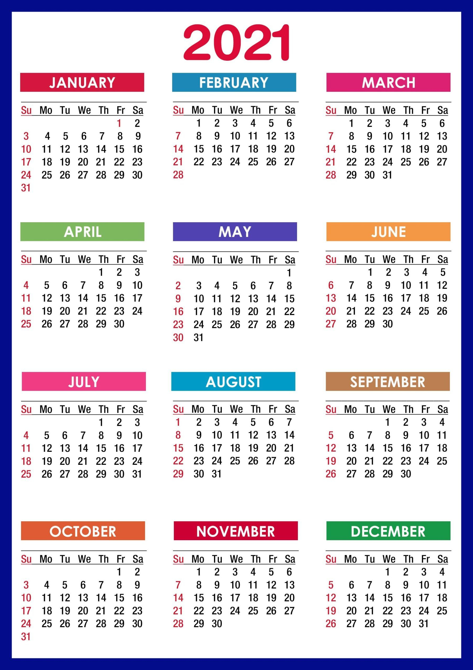 Sunday To Saturday Calendar 2021 Printable | Calendar ...