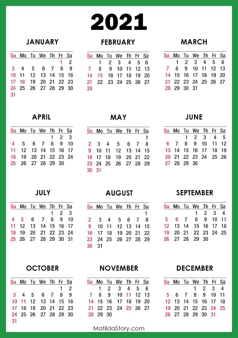 2021 Calendar With Holidays, Printable Free, Green – Sunday