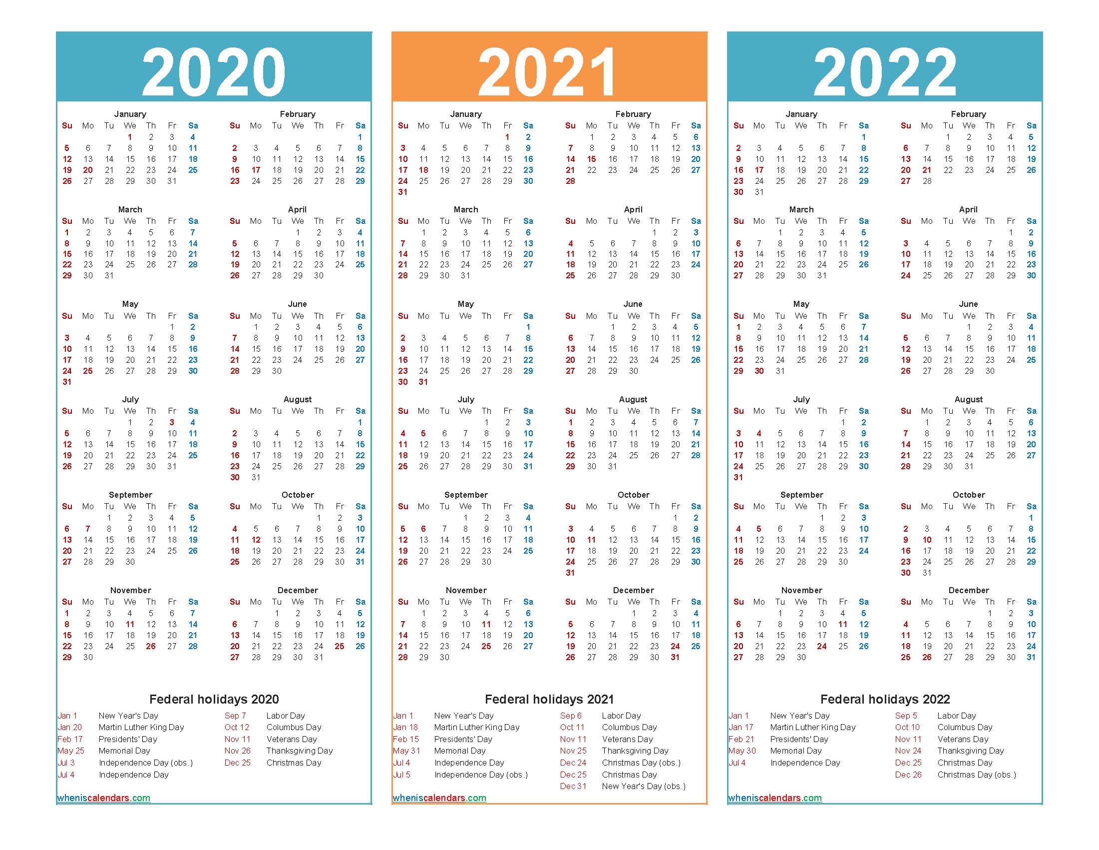 3 Year Calendar 2020 To 2022 Printable