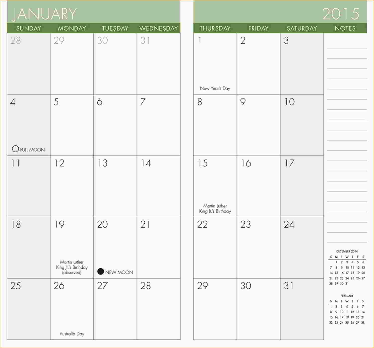 Pocket Calendar Template – Printable Year Calendar