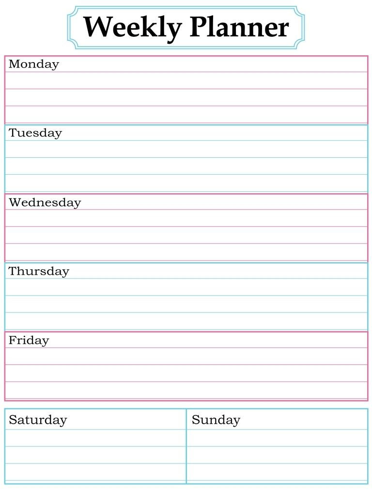 1000 Images About Printable Weekly Calendars On Pinterest