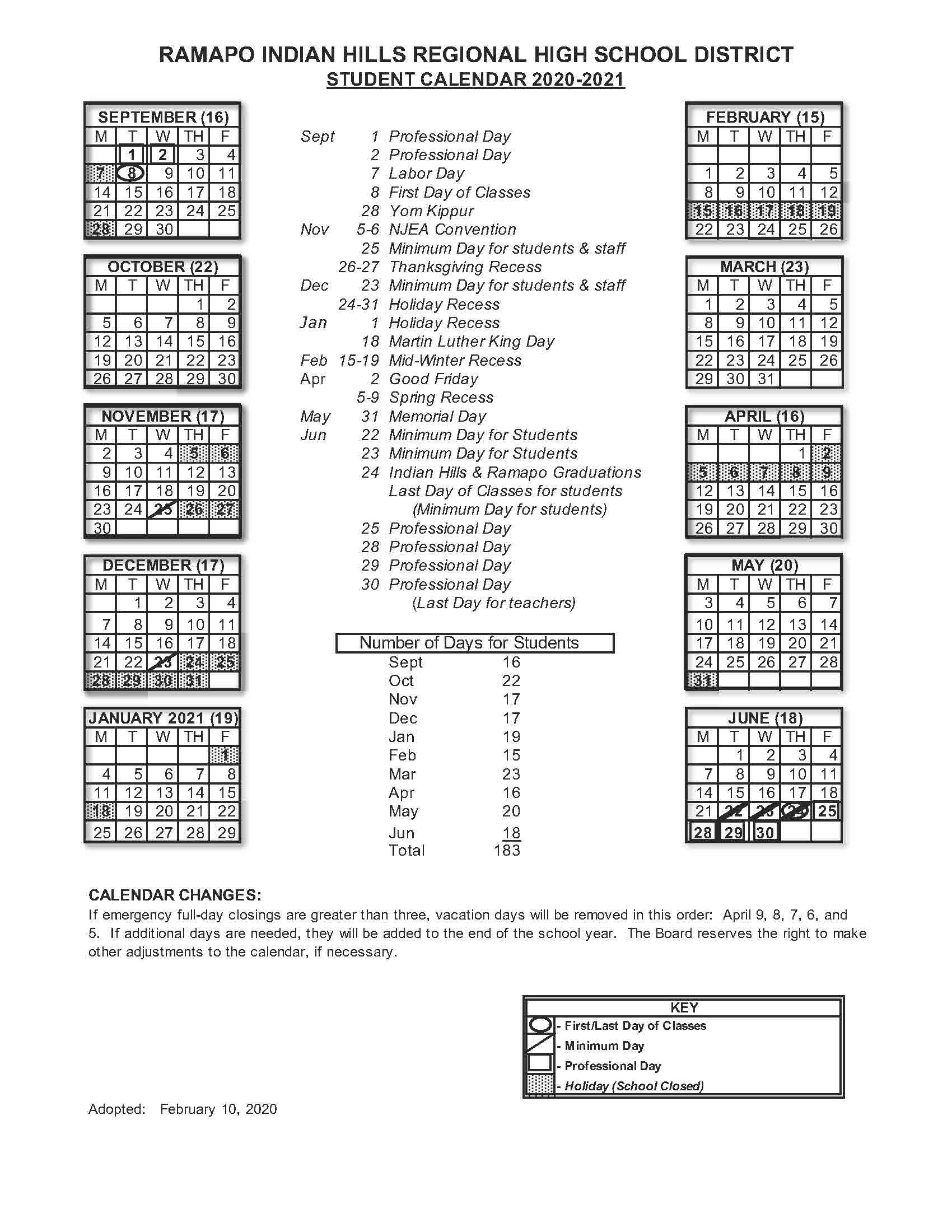 20-21 Student Calendar - Rihrhsd