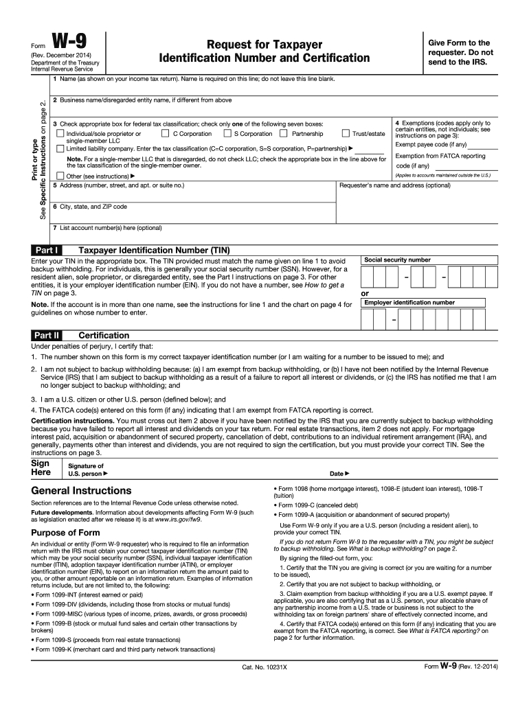 2014 Form Irs W-9 Fill Online, Printable, Fillable, Blank