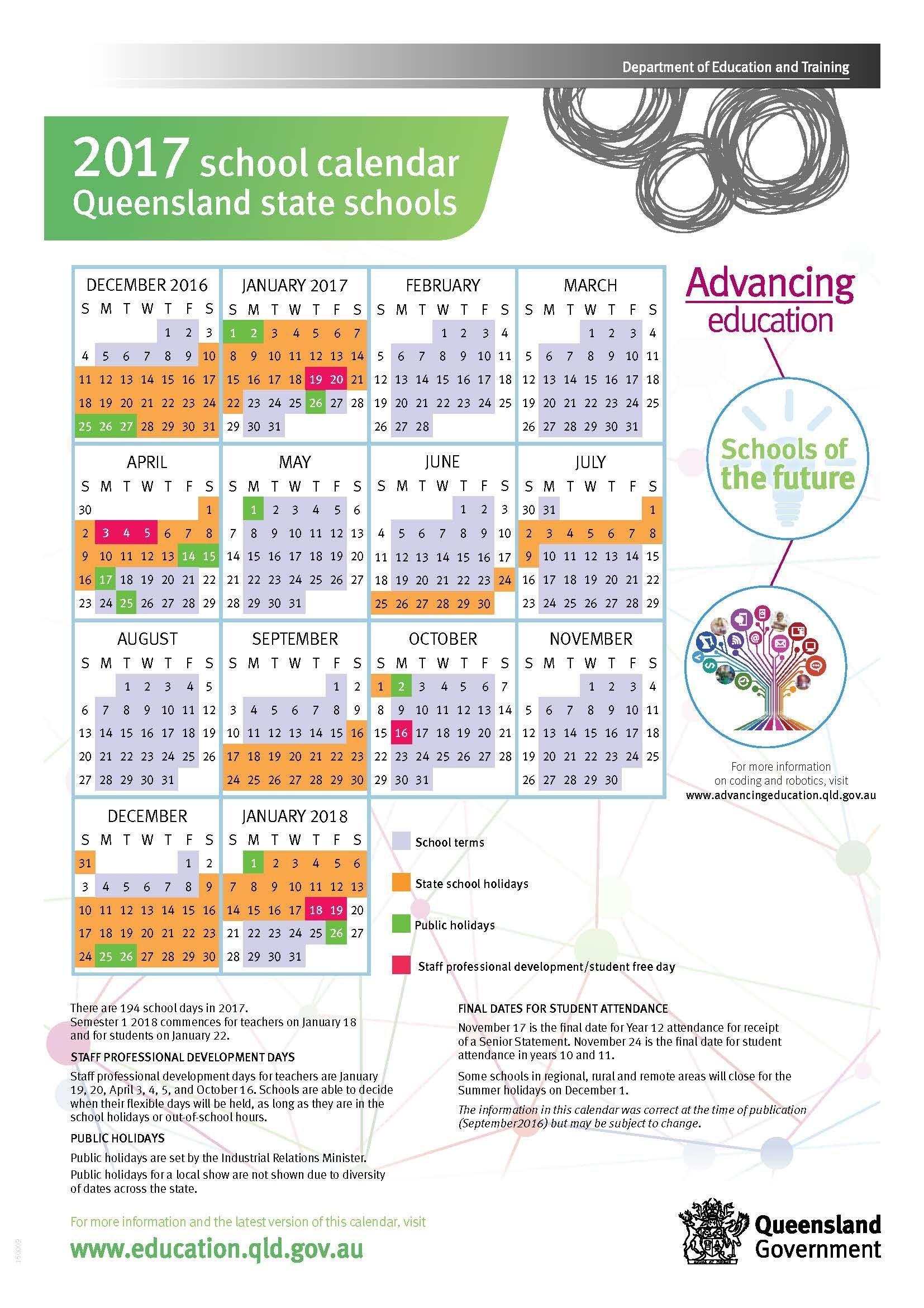 2017 Queensland State School Calendar Free   School Calendar