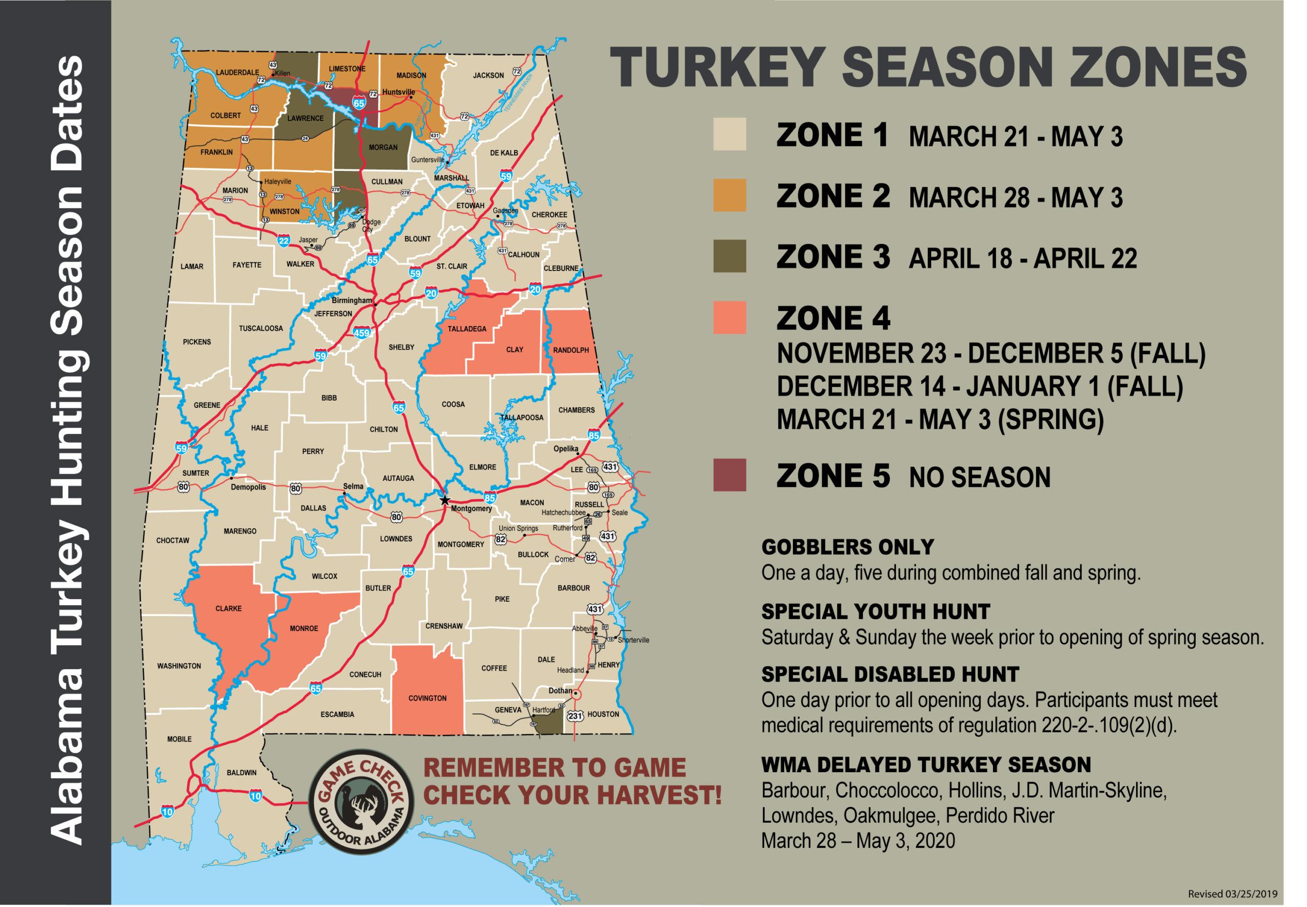 2019-20 Alabama Hunt Dates