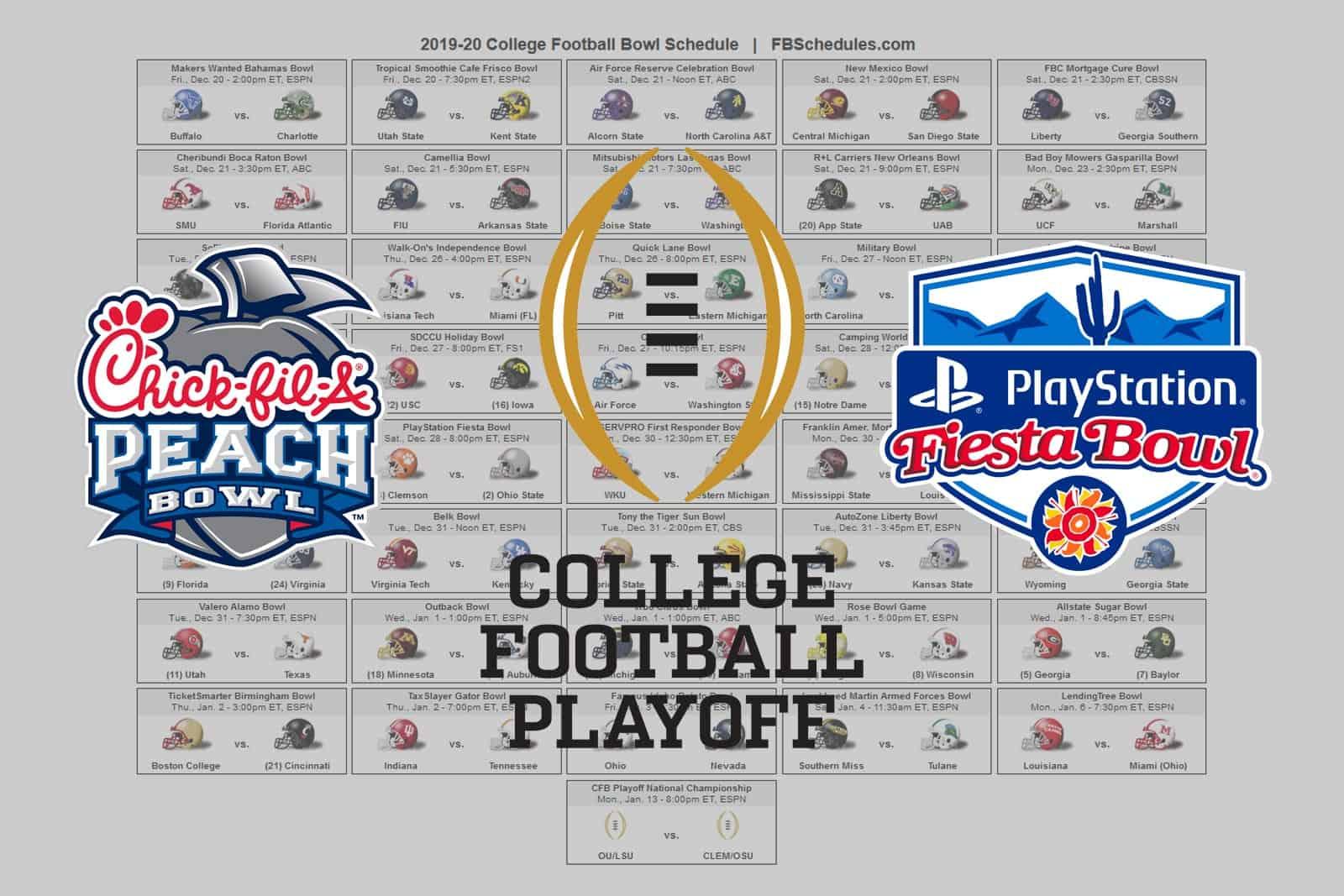 2019-20 College Football Bowl Helmet Schedule