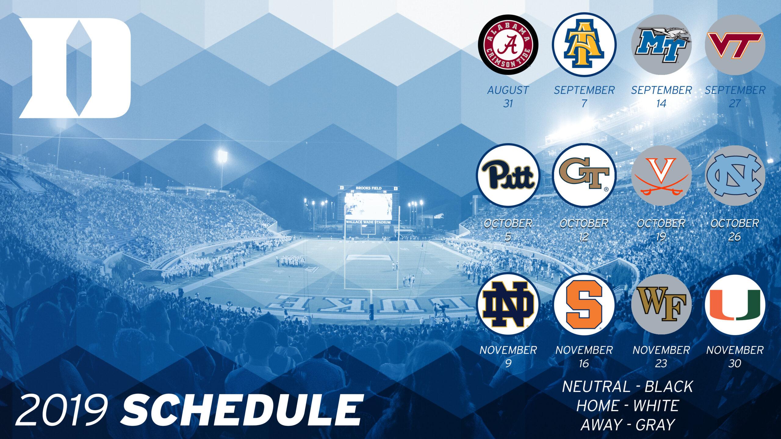 2019 Football Schedule Announced - Duke University
