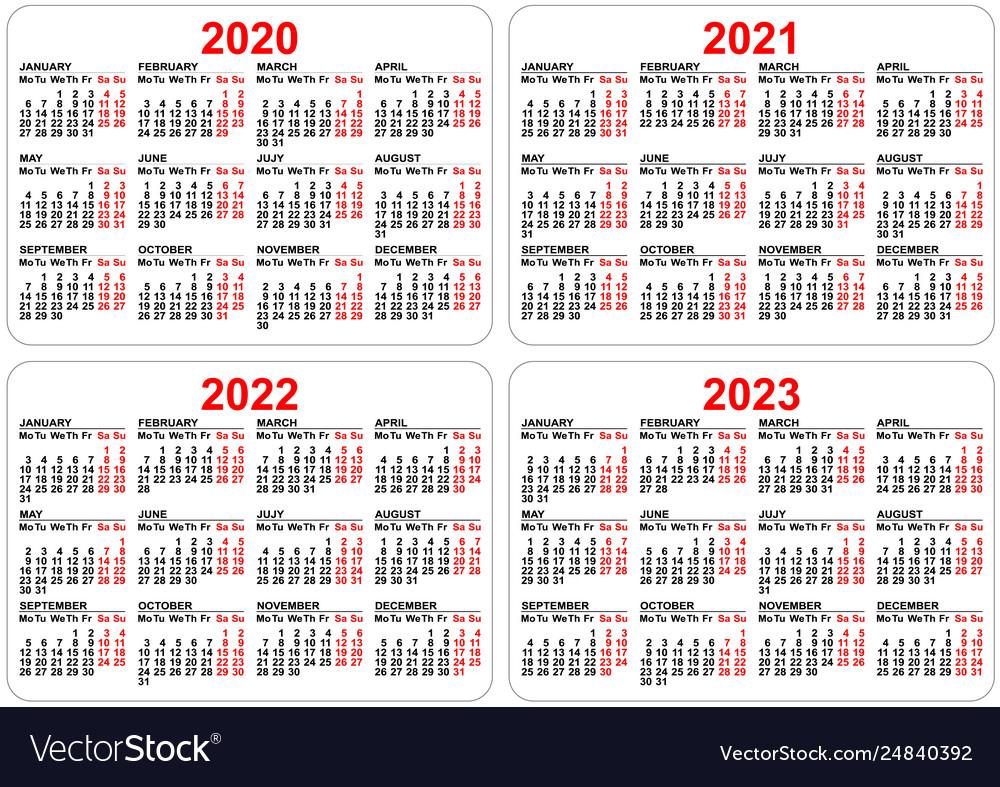 2020 2021 2022 2023 Years Set Pocket Calendar Vector Image
