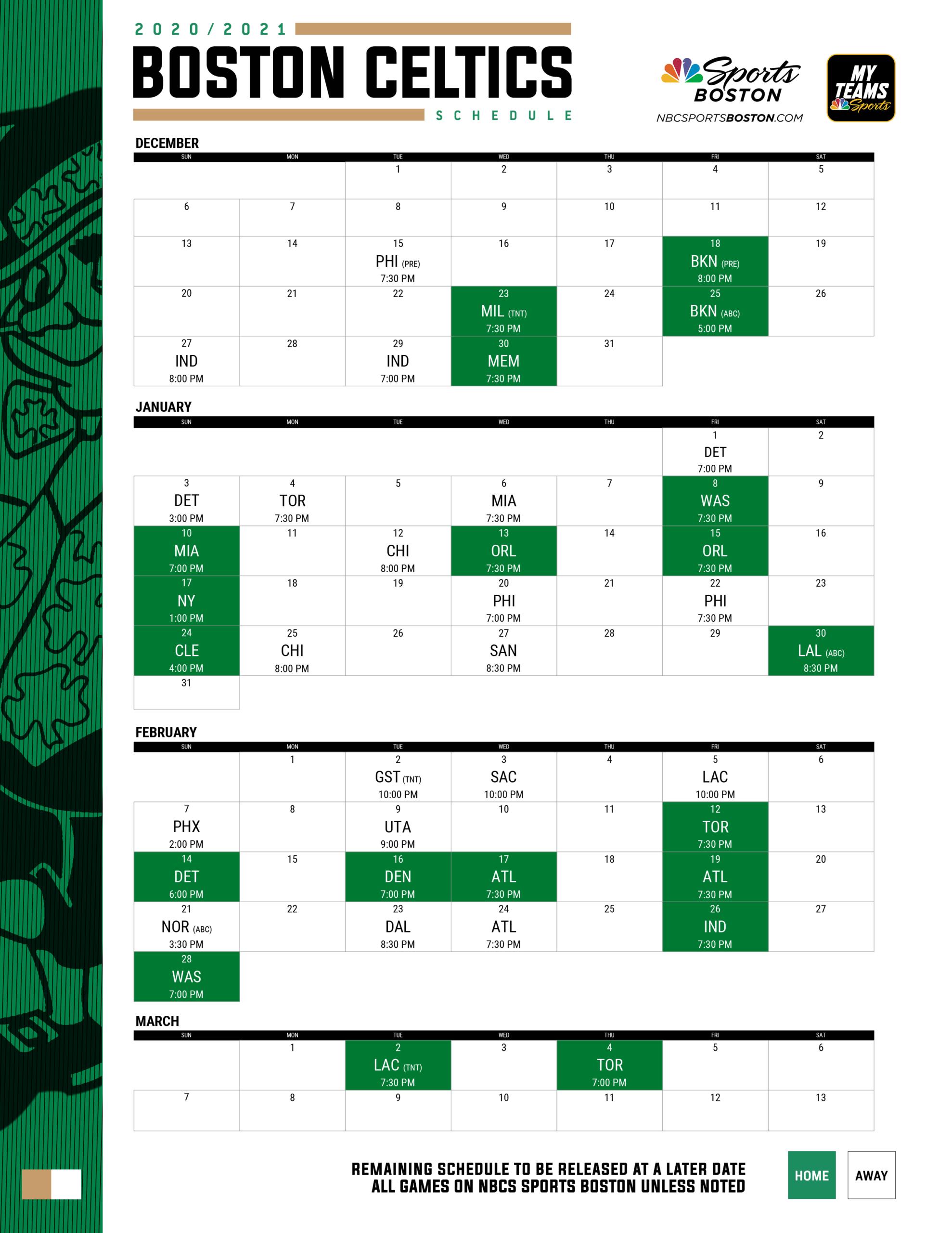 2020-2021 Boston Celtics Printable Schedule | Nbc Sports Boston
