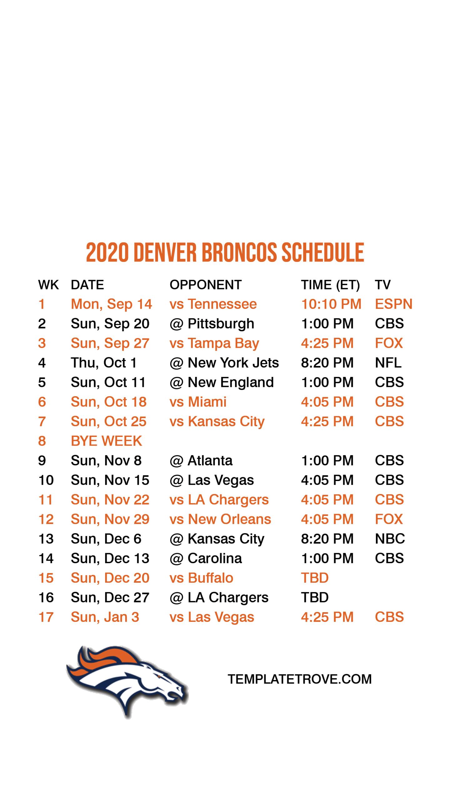 2020-2021 Denver Broncos Lock Screen Schedule For Iphone 6-7