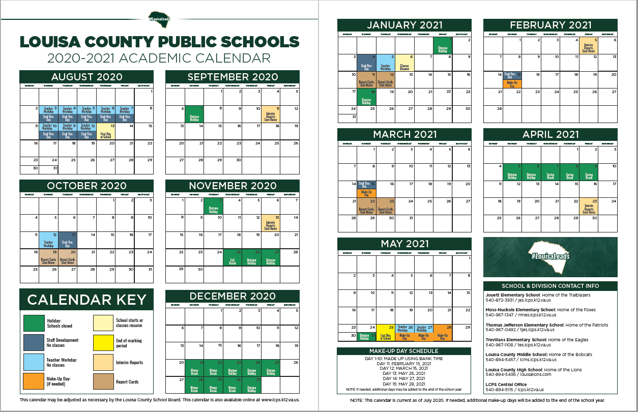 2020 - 2021 Lcps Calendar - Thomas Jefferson Elementary School